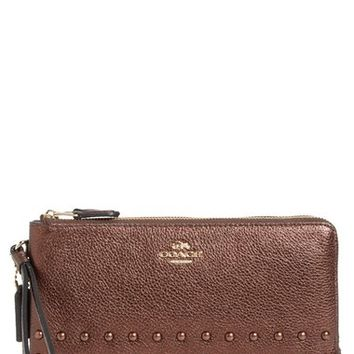 COACH Double Zip Studded Leather Wallet | Nordstrom