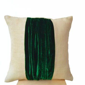 Pillow cover -Color Block Pillow -Burlap Color Block Pillow -Green Velvet Color Block Cushion -Throw Pillow -Decorative Pillow -16x16 -Gift