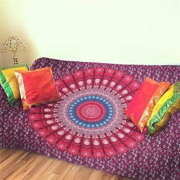 Sleeping Pad Indian Bohemian Mandala Tapestry Wall Hanging Sandy Beach Picnic Throw Rug Blanket Camping Tent Travel Mattress