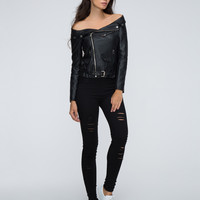 Black Off Shoulder Leather Look Jacket