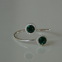 Sterling Silver 925 Adjustable Toe Ring with Double Green Crystal Stones