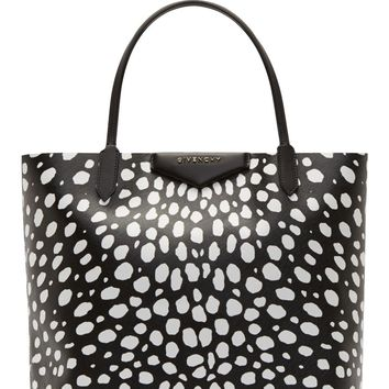 Givenchy Black And White Animal Spot Medium Antigona Shopping Tote