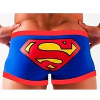 "New Man's Cartoon Superman Boxers Briefs Trunks Underwear Boyshorts Size L Waist Size 26.5""-30.5"""