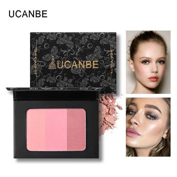 UCANBE 3 Color Mineral Cheek Blush Palette Soft Shadow Powder Blusher Pressed 3d Face Contour Bronzer Shading Powder Face Makeup