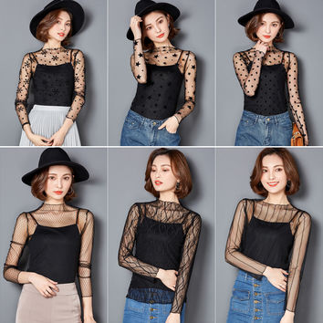 Women O-neck Sexy Transparent Mesh Lace Tee Shirts Girls Full Sleeve Tops Tees Clothing