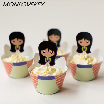 Mulan Style Cupcake Wrappers Toppers Picks Baby Shower Girl Birthday Party Decorations Kids Favors Princess Party Supplies
