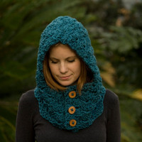 Hooded Cowl, Wood Button Crochet hooded scarf, Blue, Teal, Marine Blue