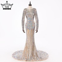 Luxury  Sexy Sequined Long Sleeves Evening Dress Nude Backless Mermaid Evening Gowns 2017 Serene Hill Robe De Soiree