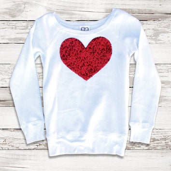 Großartig Valentines Day Sequin Heart Patch Sweatshirt Sweater Jumper Valentines Day  Shirt Top For Women Teens Tumblr