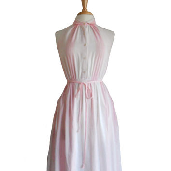 Vintage Halter Dress Pink and White Vertical Stripes with Collar - Bee Darlin - Size 9
