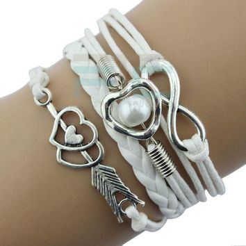 Infinity Love Heart Pearl Friendship Bracelet