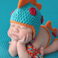 Multi-Colored Dinosaur Knit Hat Outfit Set (Multiple Colors Available) - CCA78