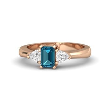 Emerald-Cut London Blue Topaz 18K Rose Gold Ring with White Sapphire