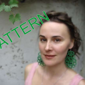 "Tatting pattern -Tatting earrings ""Emerald ""- handmade jewelry - lace earrings - shuttle tatting - PDF pattern"