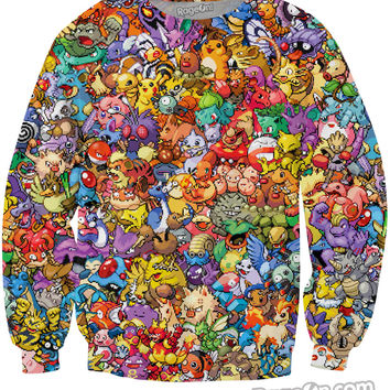 Original 150 Pokemon 8-Bit Collage Crewneck Sweatshirt