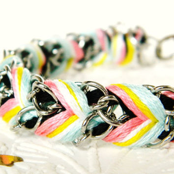 Taffy Frosting - Noir, Lolli Pink, Lemon Pearl Swirl, & Brighter Skies - Chevron Braided Modern Friendship Bracelet - Gold Chain