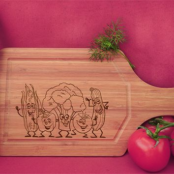ikb588 Personalized Cutting Board funny cartoon fruits vegetables vegetarian kitchen gift