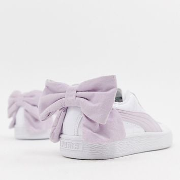Puma Basket Pink Bow White Sneakers at asos.com
