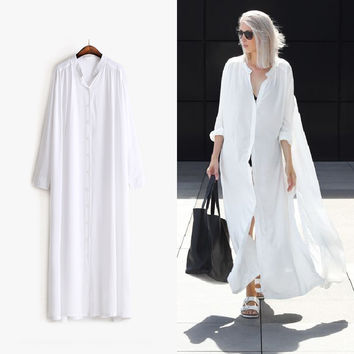 [TWOTWINSTYLE] Original 2016 Summer Shirt Dress 4 Sides Slit Buttons  Ways to Wear Long Loose One Size Women New