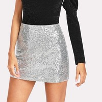 Women Elegant Party Sexy Club Skirt Metallic Sequin Skirt for  Summer