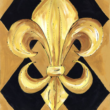 Black and Gold Fleur de lis New Orleans  Flag Canvas House Size