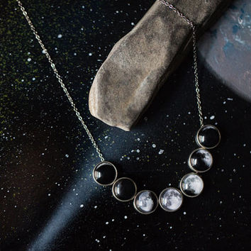 Moon Phase Necklace - Lunar Phases Jewelry, Unique Galaxy Science Jewellery by Jerseymamids - Cosmos, Space, Accessories, Wedding, Simple