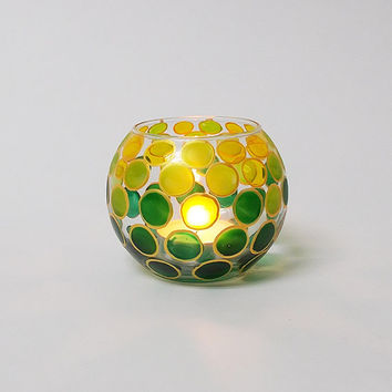 Candle Holder Green Yellow dots Hand painted Glass sphere Tea light holder Home decor Wedding candle holder Mother'sday gift Romantic light