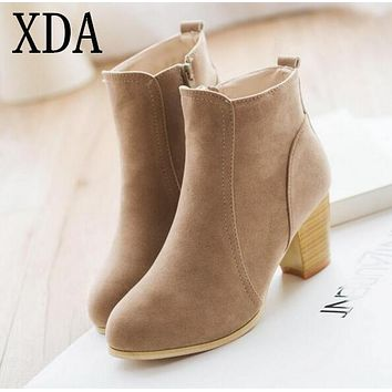 XDA Autumn and winter short cylinder boots with high heels boots shoes Martin boots women ankle boots with thick scrub A547