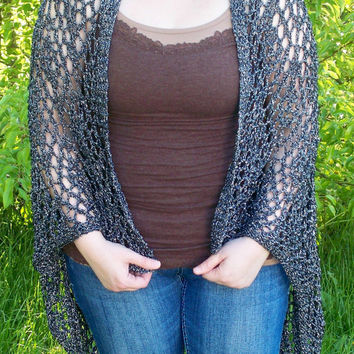 Lace Knit Shimmer Shawl In Silver Midnight by BettyMarieJones