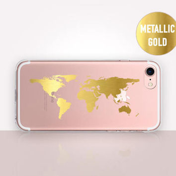 Transparent Metallic World Map Phone Case-Transparent Case-Clear Case-Transparent iPhone 7-Clear iPhone 7 Plus-Gel Case-Soft TPU - iPhone