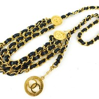 "Authentic CHANEL Black Leather x Goldtyone 32"" Chain Waist Belt"