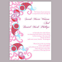 Bollywood Wedding Invitation Template Download Printable Wedding Invitation Editable Red Invitations Indian invitation Paisley Invites DIY