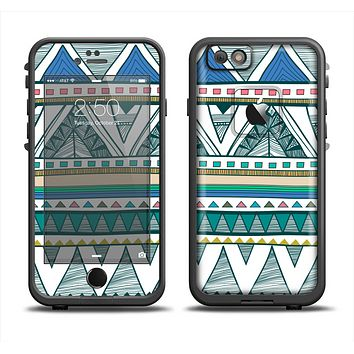 The Abstract Blue and Green Triangle Aztec Skin Set for the Apple iPhone 6 LifeProof Fre Case