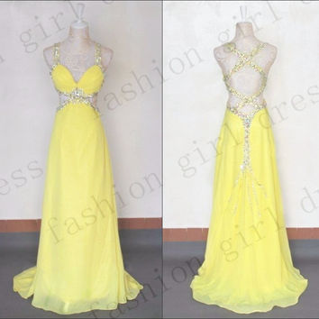 Beach Floor-length yellow Chiffon maxi dress prom dresses long prom dress elegant dress long evening gown backless elegant dress for 2014