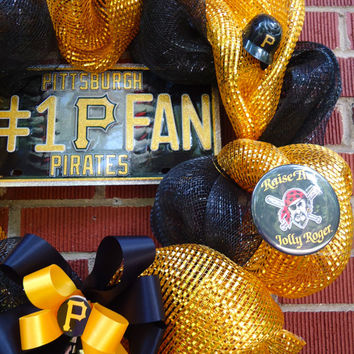 "Pittsburgh Pirates Wreath - "" # 1 Pirates Fan"" , Silk floral, Deco Mesh, Black and Gold, Gift, Home Decor, Housewarming"
