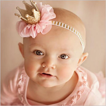 baby girl flower princess crown headband for newborns photography hair accessories kids elastics hair head band wrap ornaments