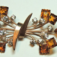 Magnificent 1940s Brooch, Large Spray Flowers, Amber, Gold Vermeil, Sterling Silver, Vintage Brooch, Vintage Jewelry (3kbx)
