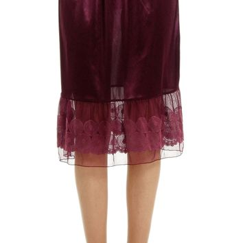 Women Circle Lace Satin Half Slip Skirt Extender