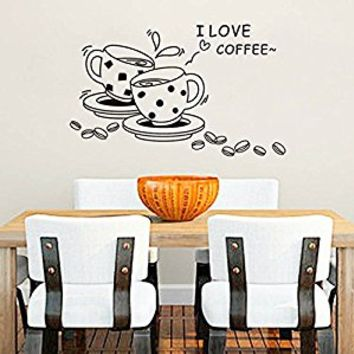 Wall Decal Vinyl Sticker Decals Art Decor Design Sign I love Coffee Tea Couple Cap Drinks Kitchen Family Good Day Smile (r686)