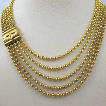 Brass Ball Bead Necklace Choker, Art Deco Multi Strand Necklace, 1930s Art Deco Jewelry Necklace,  Chainmaille