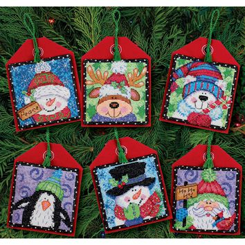Christmas Pals Ornaments (14 Count) Dimensions Counted Cross Stitch Kit 4.5""
