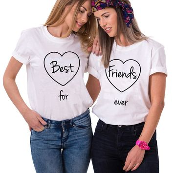 Best Friends Matching T-shirts Fashion Bff tshirt Girls Best Friends Forever T Shirt Women 2018 Cotton sisters Tee Shirt Femme