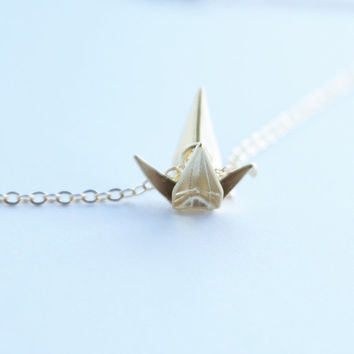 Crane Necklace, Origami Necklace, Little Gold Origami Crane Dainty Simple Pendant Necklace