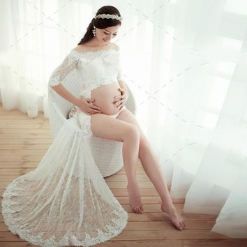 3pcs/Lot Pregnant Dresses Pregnancy Photo Shoot Studio Props Fancy Long Lace Dress White Dress Pregnant Photography Props