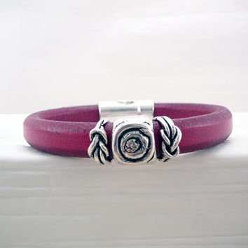 Deep Red Regaliz Licorice Leather Bracelet - Boho Bracelet - Leather Jewelry - Regaliz Bracelet