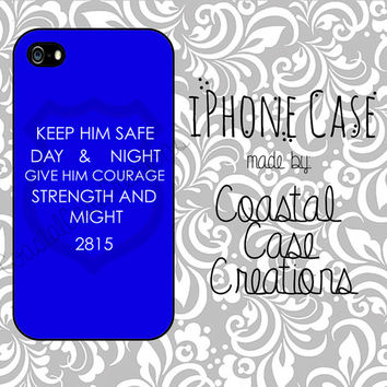 Thin Blue Line Quote Custom Badge Number Apple iPhone 4 and 5 Hard Plastic or Rubber Phone Case Cover Original Design