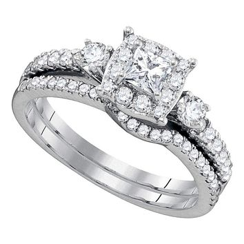 14k White Gold Women's Princess Diamond Bridal Wedding Engagement Ring Band Set 7/8 Cttw - FREE Shipping (US/CAN)