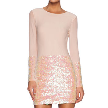 AQ/AQ Facet Mini Dress in Blush