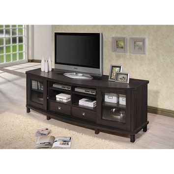Baxton Studio Udder Contemporary 70-Inch Dark Brown Wood TV Cabinet with 2 Sliding Doors and 2 Drawers | Overstock.com Shopping - The Best Deals on Entertainment Centers