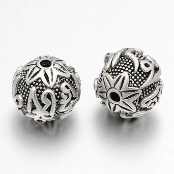 2 Pcs - 14mm Tibetan Style Brass Buddhist Beads -  Beads - Antique Silver - Spacer Beads - Jewelry Supplies